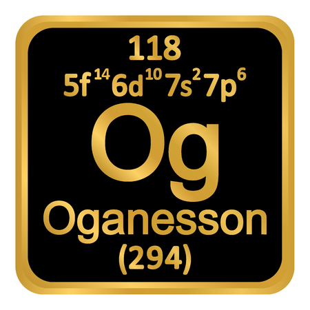 Periodic table element oganesson icon on white background. Vector illustration. Ilustração