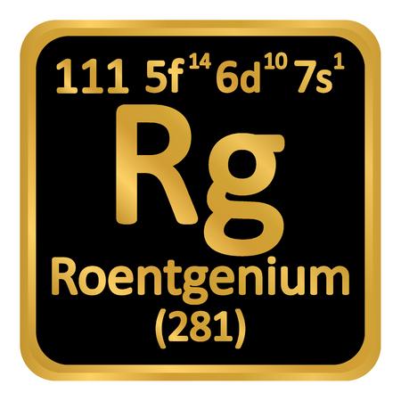 Periodic table element roentgenium icon on white background. Vector illustration.