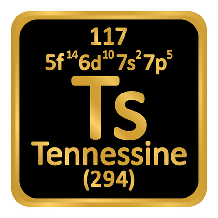 Periodic table element tennessine icon on white background. Vector illustration.