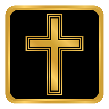 Religious cross button on white background. Vector illustration. Illustration