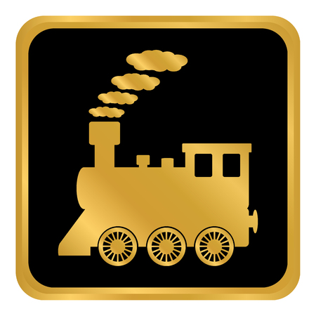 Locomotive button on white background. Vector illustration. Çizim