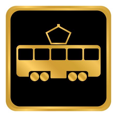 Tram button on white background. Vector illustration. Stock Vector - 99687965