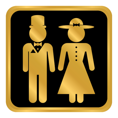 Male and female restroom symbol button in retro style. Vector illustration.