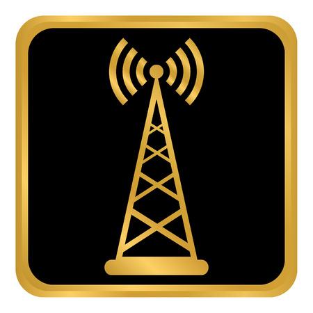Transmitter button on white background. Vector illustration.