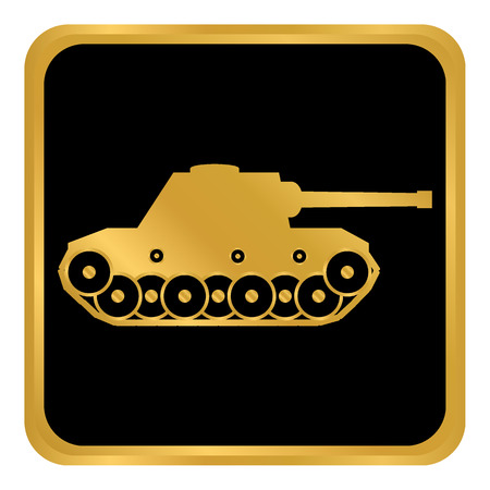 Gold and black Panzer button on isolated background. Vector illustration.