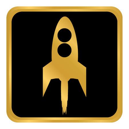 Starting rocket button on white background. Vector illustration. Illustration