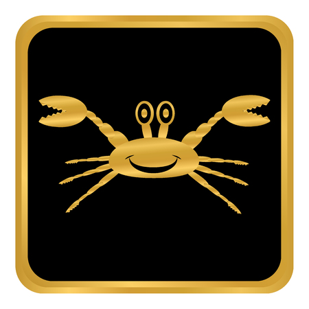 Crab button on white background. Vector illustration.
