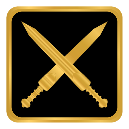 Crossed gladius swords button on white background. Vector illustration.