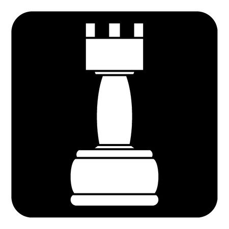 Chess rook icon on white background. Vector illustration.