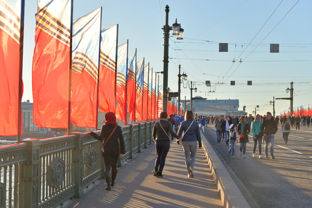 ST.PETERSBURG, RUSSIA - 9 MAY 2018: The Palace Bridge is decorated with flags to the Victory Day in Second World War. Editorial
