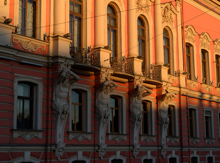 Fragment of facade the Beloselsky Belozersky at sunny evening in Saint Petersburg, Russia.