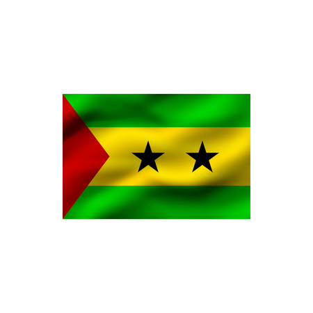 Flag of Sao Tome and Principe on white background. Illustration.