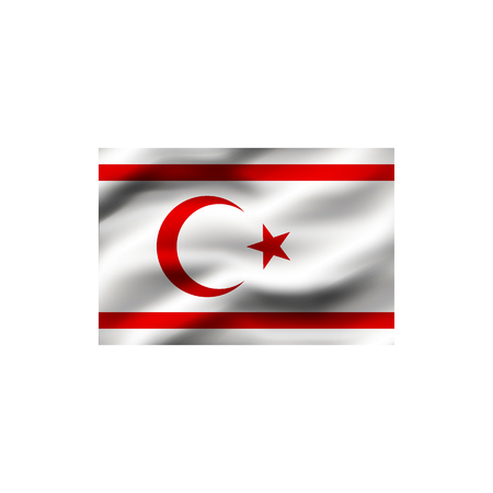 Flag of the Turkish Republic of Northern Cyprus on white background. Illustration.