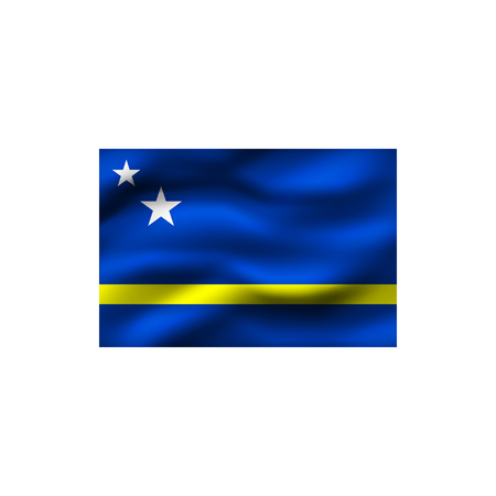 Flag of Curacao on white background. Illustration.