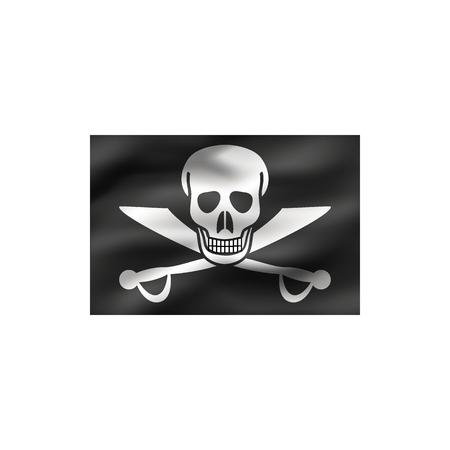 Jolly Roger flag on white background. Illustration.