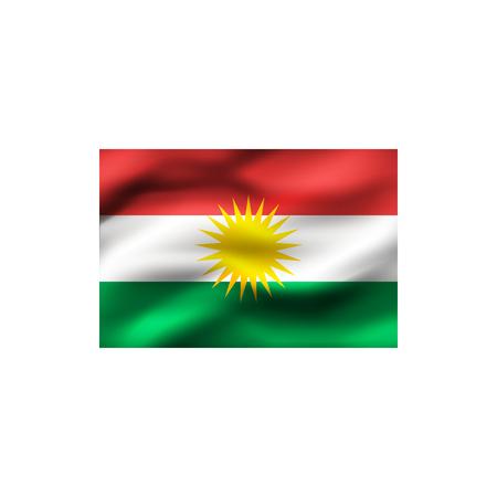 Flag of Kurdistan on white background. Illustration.