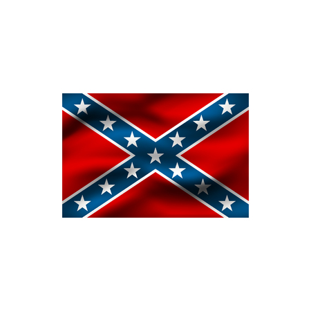 National flag of the Confederate States of America on white background. Illustration.