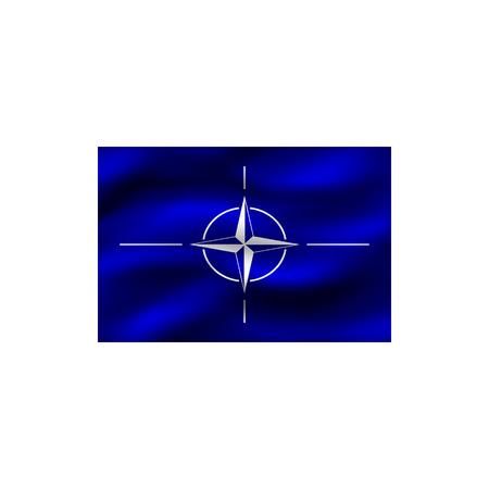 Drapeau de l'Organisation du Traité de l'Atlantique Nord sur fond blanc. Illustration.