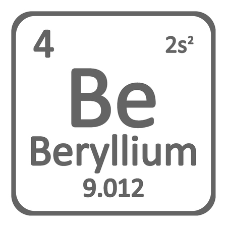 Periodic table element beryllium icon on white background. Vector illustration. Ilustração