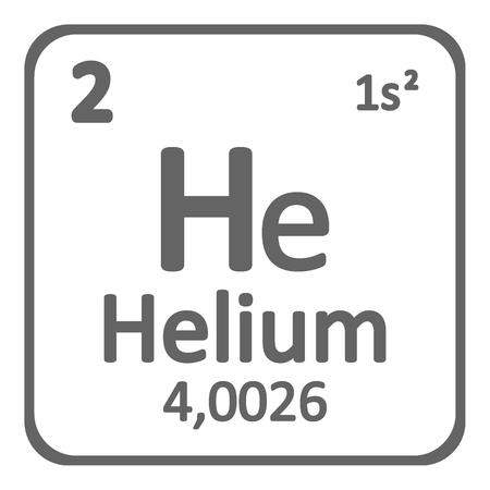Icono de helio de elemento de tabla periódica sobre fondo blanco. Ilustración vectorial