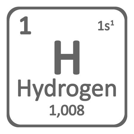 Icona di tavola periodica elemento idrogeno su priorità bassa bianca. Illustrazione vettoriale. Vettoriali