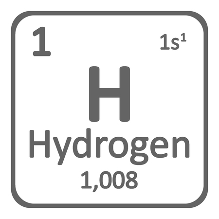 Periodic table element hydrogen icon on white background. Vector illustration. 矢量图片