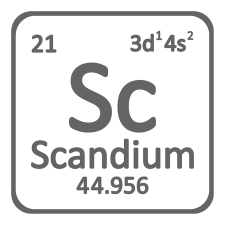 Periodic table element scandium icon on white background. Vector illustration.