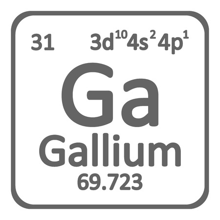 Periodic table element gallium icon on white background. Vector illustration.