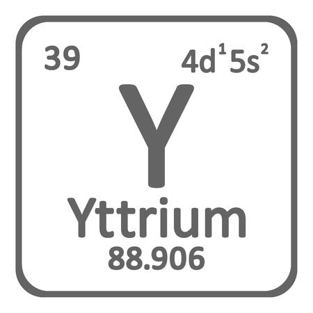 Periodic table element yttrium icon on white background. Vector illustration. Ilustração