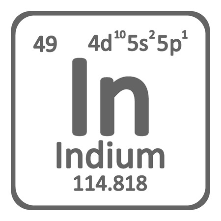 Periodic table element indium icon on white background. Vector illustration.