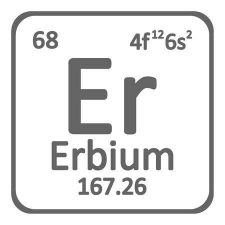 Periodic table element erbium icon on white background. Vector illustration.