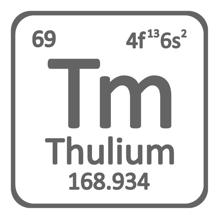 Periodic table element thulium icon on white background. Vector illustration. Ilustração