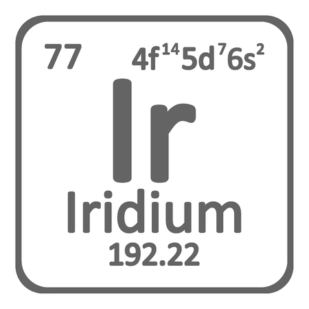 Periodic table element iridium icon on white background. Vector illustration.