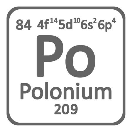 Periodic table element polonium icon on white background. Vector illustration. Illustration