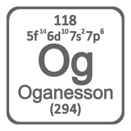 Periodic table element oganesson icon on white background. Vector illustration. Ilustração