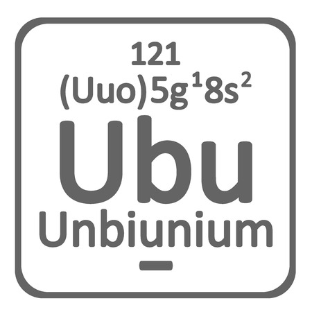 Periodic table element unbinilium icon on white background. Vector illustration.