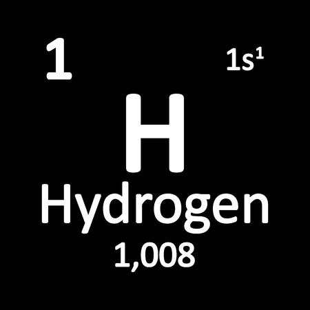 Icona di tavola periodica elemento idrogeno su priorità bassa bianca. Illustrazione vettoriale.