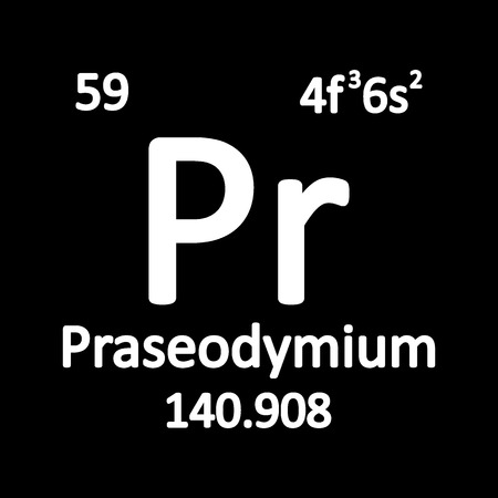Periodic table element praseodymium icon on white background. Vector illustration. Ilustração