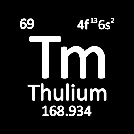 Periodic table element thulium icon on white background. Vector illustration. Ilustração