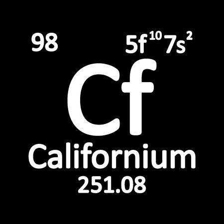 Periodic table element californium icon on white background. Vector illustration. Ilustração