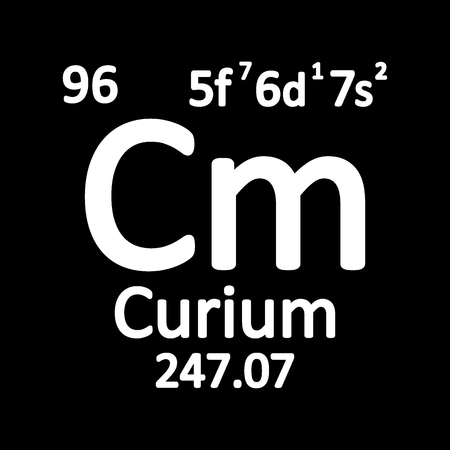 Periodic table element curium icon on white background. Vector illustration.