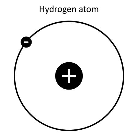 Hydrogen atom on white background. Vector illustration. Ilustração