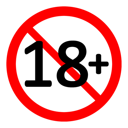 18 age restriction sign on white background. Vector illustration.
