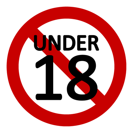18 age restriction sign on white background. Vector illustration. Stok Fotoğraf - 114947253