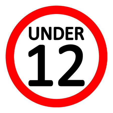 12 age restriction sign on white background. Vector illustration.