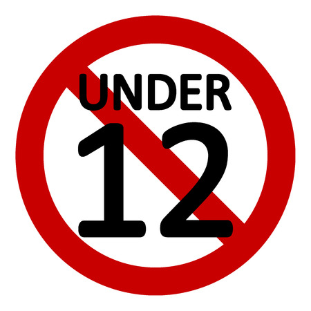 12 age restriction sign on white background. Vector illustration.
