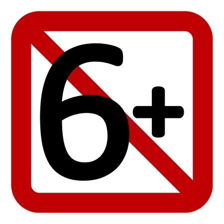 6 age restriction sign on white background. Vector illustration. Illustration