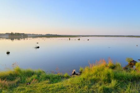 Wetland lake Sestroretsky Razliv at sunset in Saint Petersburg, Russia.