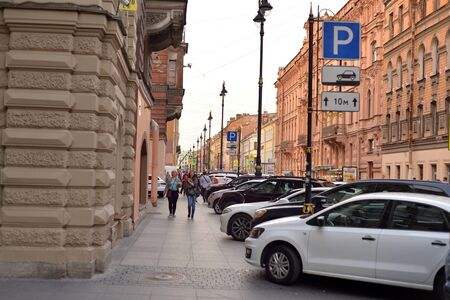 ST.PETERSBURG, RUSSIA - 27 AUGUST 2018: Rubinstein street in St. Petersburg at evening. The street became known as one of the main restaurant streets in Europe