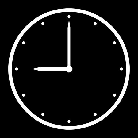 Clock icon on black background. Vector illustration.